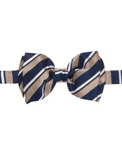 BLUE AND BEIGE KNOTTED BOW TIE WITH REGIMENTAL WEAVE, 100% SILK_0