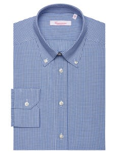 BLUE CHEQUERED PATTERNED SHIRT, BUTTON DOWN COLLAR, EXTRA SLIM FIT 157B - BUTTON DOWN_0