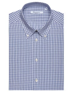 WHITE PATTERNED CHEQUERED SHIRT, BUTTON DOWN COLLAR, SLIM FIT 157B - BUTTON DOWN_0