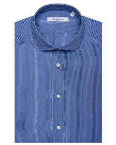 BLUE PATTERNED SHIRT WITH THIN WHITE STRIPES, NEW FRENCH COLLAR, SLIM FIT 103F - FRENCH_0