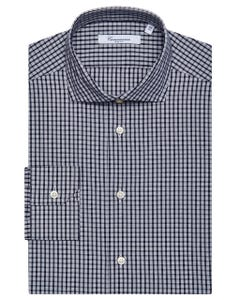 BLACK CHEQUERED SHIRT, NEW FRENCH COLLAR, SLIM FIT 103F - FRENCH_0