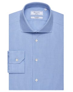 CLASSIC BLUE SHIRT WITH GEOMETRIC PATTERN, SEMI-FRENCH COLLAR, SLIM FIT 147M - FRENCH_0