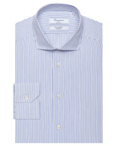 CLASSIC WHITE SHIRT WITH BLUE STRIPES, NEW FRENCH COLLAR, SLIM FIT 103F - FRENCH_0