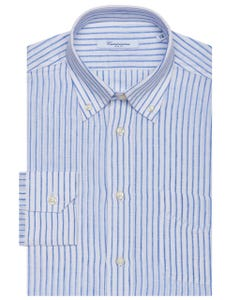 FANCY LINEN SHIRT WITH A SLIM FIT 157B - BUTTON DOWN_0