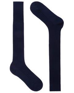 LONG SOCKS, RIBBED FABRIC BLUE_0